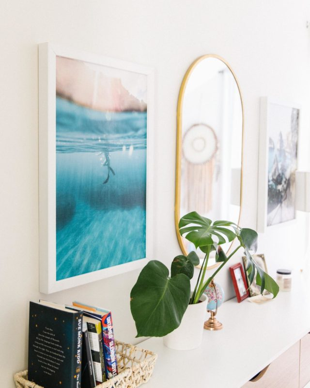 Finally getting some pieces hung in my room! Of course it's all things mid-century modern and beachy...there really isn't another option for me. I ordered some prints from Bali & Hawaii so I can see the ocean everyday when I wake up and it's snowing outside. But guys I LOVE my new prints from @smallwoodhome 👏🏼👏🏼 very affordable and lightweight. They are great gift ideas tooooo......  let me know if you need help choosing photos- it's my favorite thing.