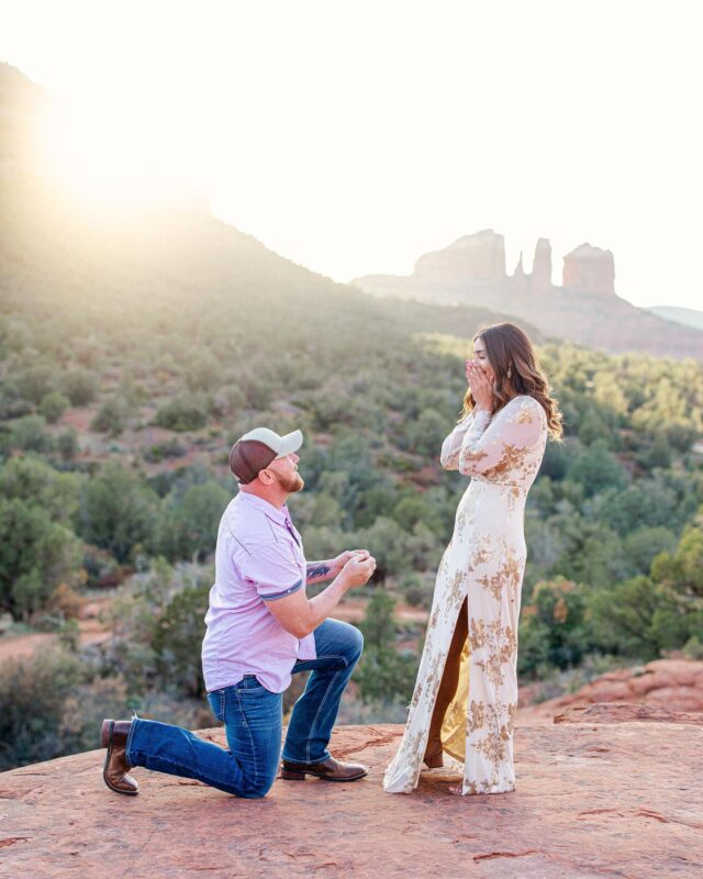 "Ehhh 💍!!!! Just the cutest surprise proposal I photographed Sunday evening! While on a trip out from Oklahoma with their best friends, Johnny proposed in Sedona to which Andrea was VERY shocked. He actually faked getting on one knee a few minutes before to ""tie his shoe"". That one got her.  So a few mins later he actuallyyyy got down on one knee to propose she was shocked! In all the right ways! #sedonaproposal"