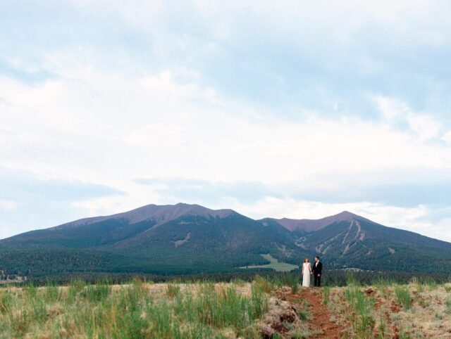 """MATT & CHELSEA - your wedding in the woods was literally everything you my little photography heart but also my Flagstaff heart. It was the most perfect of days… a little cloudy, a little rain, a little sun. The Aspen leaves swayed and clapped their hands in the wind as you said """"I do"""" to your best friend forever. We ate @pizzicletta under twinkle lights and danced till the moon came out. It was perfection. ☀️🌿⛰🍕"""