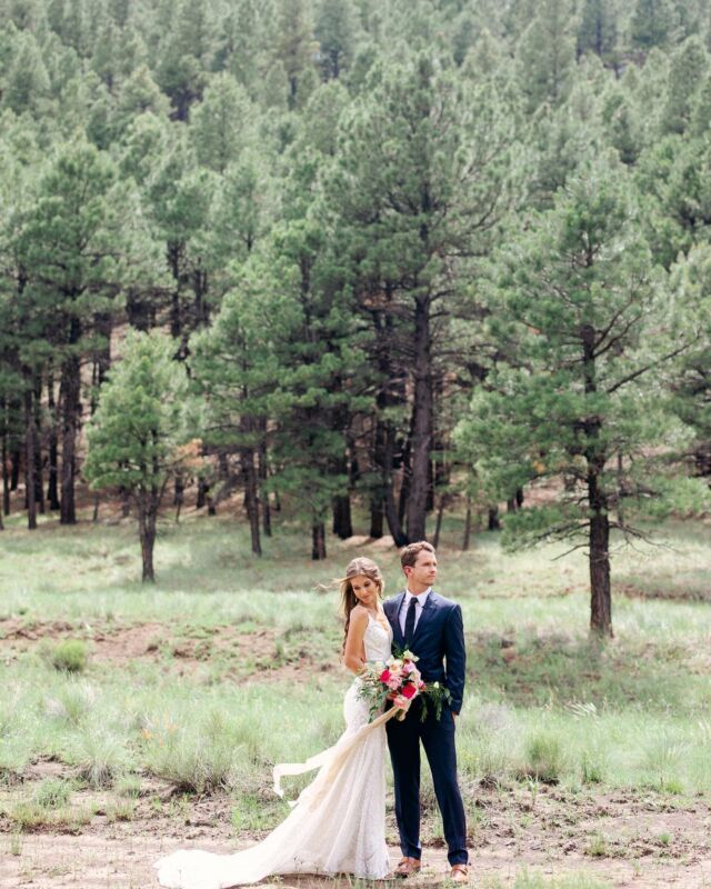 ohhhh these summer Flagstaff weddings honestly fill my heart like no other weddings do.  Monsoon thunderstorms that roll in right when the ceremony starts (we all loved it), the wildflowers sprouting everywhere, and rainbows that come out to greet the newlyweds!!! 🌧🌻 🌈 Ah. I love outdoor weddings because you let weather affect and influence your wedding day in a way only nature can. My Flagstaff couples know this all too well with living in a mountain town. From snow, to monsoons, to forest being closed due to wildfires, and more. We live in Flagstaff because we want natural world to influence our daily lives…and our wedding days.   Maddi + Luke fell in love in high school. But to a degree that many high schoolers may never experience till their older. A true, deep, life changing kind of love. Both born and raised in Flagstaff, there was no other place they would rather get married than this place, surrounded around the pine trees in Maddi's own backyard. It was a neighborhood effort to put this wedding together. Everyone around helped their families put this wedding on. (Sounds like a true midwest kind of neighborhood to me!)  and IT WAS MAGICAL. We danced all night to the @luckydevilsband and ended with a beautiful sunset.  Design : @kimduncandesign  Video: @uphausfilms  Dress: @ruedeseinebridal  HAMU: @sedonabeautyteam  Catering: @3sinthetrees  Bridesmaids dress : @lulus  Rentals: @brighteventrentals  Linens: @latavolalinen  #flagstaffwedding #flagstaffweddingphotograper